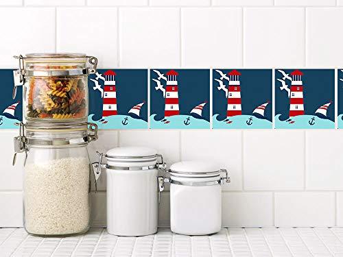 GRAZDesign Fliesen überkleben Leuchtturm - Klebefliesen Hafen - Fliesenfolie Bad Meer - Fliesenaufkleber Bad maritim / 15x15cm / Set 40 Stück