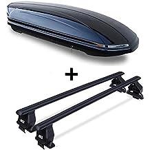 Dachbox VDPMAA320 abschließbar schwarz 320 Ltr + Stahl Dachträger Menabo Tema für Seat Leon III (Kombilimousine 5 Türer) ab 2012