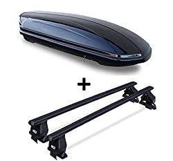 Dachbox VDPMAA320 abschließbar schwarz matt 320 Ltr + Dachträger Menabo Tema kompatibel mit VW Touran ohne Reling 2003-2015 Stahl