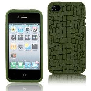GE Lexan Polycarbonate Leather Protective Cover Case for iPhone 4G with Screen Film/Stand (Green)
