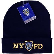 NYPD–Gorro de invierno gorro de punto azul marino con licencia oficial por el nuevo York departamento de policía de la ciudad