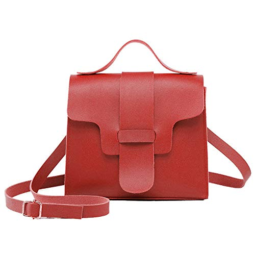 YSoutstripdu Promotion, Frauen Solid Color Faux Leder Flap Tote Pouch Crossbody Shoulder Bag-Red/pink/Gray/Brown/schwarz -