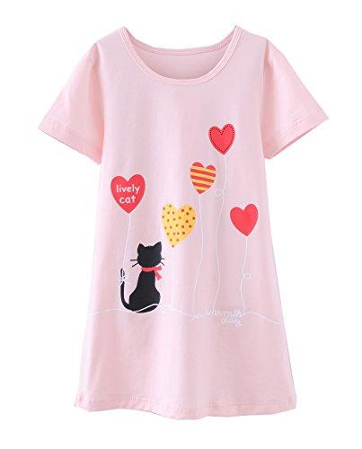 ABClothing Mädchen Nachthemden Baumwolle Nachtwäsche für Kleinkind 6-7 Jahre Pink Cat Lively Cat