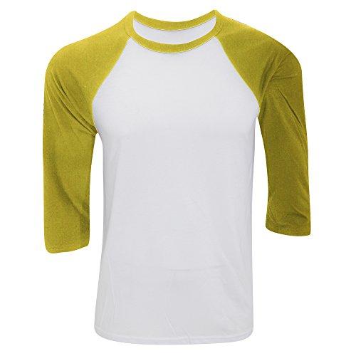 Canvas Herren Baseball T-Shirt, 3/4-Ärmel (Small) (Weiß/Neongelb) (Baseball-t-shirt Weiße)