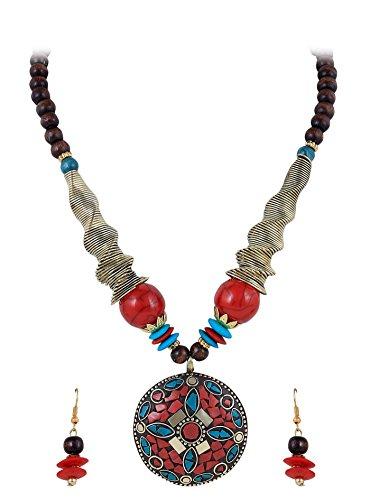 Arittra latest style (Traditional Imitation Ethnic Tibetan Tribal Antique Afgani boho gypsy statement fashion Indian Contemporary Vintage Turkish) Red beads Golden meenakari Round metal brass Pendant