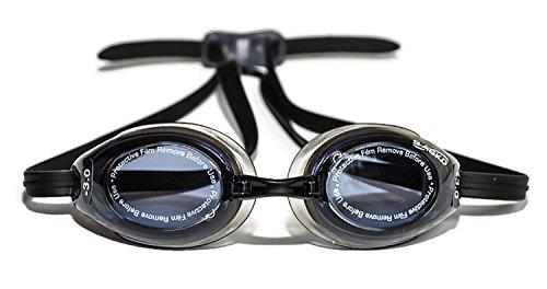 Optische Schwimmbrille, gemischte Gläser, Schwarz, für Erwachsene, links/rechts, Left (-3.50) Right (-2.50)