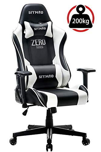 SITMOD Gaming Stuhl Gaming Sessel 200kg PU Leder Rocker, Leuchtende Stickerei Lendenkissen Design, Breite PC Computer Gaming Stühle Ergonomisch E-Sport Racing Stuhl für Gamer (Schwarz&Weiß)