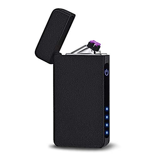 UBMSA Elektronisches Feuerzeug Elektrofeuerzeuge USB Sturm Box USB Aufladbare Anti-Wind ohne Flamme Anzünden (Schwarz)
