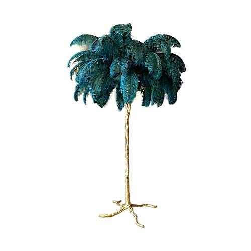 Hlidpu Lámparas de pie de la Pluma, iluminación casera de la lámpara de la Pantalla de la Pluma para el Dormitorio de la Sala de Estar, H160 * 110cm,Green