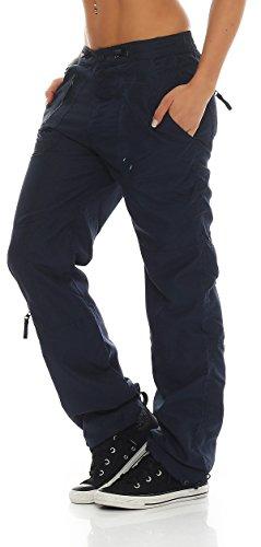 SUCCESS Damen Cargo Hose Casual Wear Chino Stoff Hose 5 Pocket Regular Fit Freizeithose 3301-3302 02-Blau