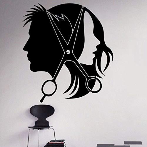 zqyjhkou Adesivo in Vinile Salone di Parrucchiere sfoderabile Negozio di Barbiere Adesivo Baber Negozio Decorazione Parrucchiere Carta da Parati Design Wall Art Murale Ay444 42x46cm