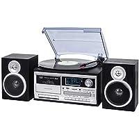 Trevi TT 1072 DAB Sistema Giradischi Stereo Bluetooth con Ricevitore Digitale DAB / DAB+, Funzione Encoding, Lettore Mp3, CD, USB, Aux-In, SD, Musicassette, Nero