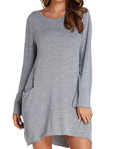 Auxo Damen Rundhals Langarm Shirts Lose T-Shirt mit Tasche Oversized Tops Longshirt Pullover Grau EU 46/Etikettgröße 2XL (Oversized T-shirt Kleid)