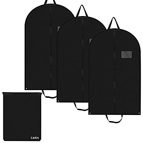 Lictin 3 pcs 100*60cm Breathable Garment Suit Clothes Covers Bags, 40 inch Suit Covers Foldable Bag with Handles and 1 Shoes Bag Good for Traveling Easy to