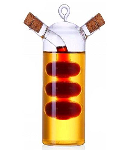 Ölflasche Glas mit Korken 2in1   300ml - 19cm   Mundgeblasen   Karaffe - Ölkanne für Olivenöl und Essig
