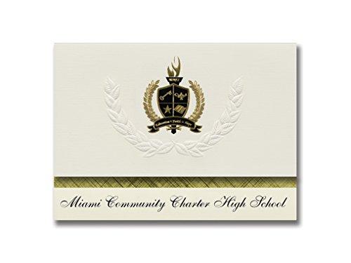 Signature Announcements Miami Community Charter High School (Florida City, FL) Abschlussankündigungen, Präsidentialität, Basic Pack 25 mit goldfarbenen und schwarzen Metallfolienversiegelung