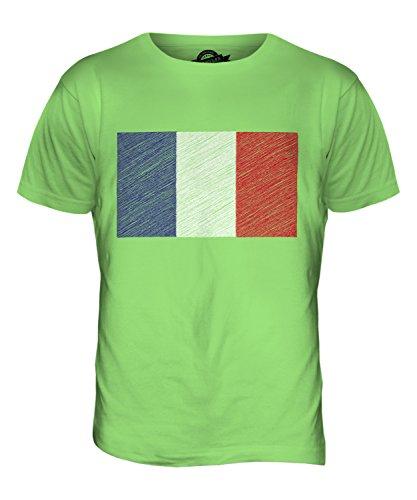 CandyMix Frankreich Kritzelte Flagge Herren T Shirt Limettengrün