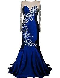 sunvary Jewel cuello manga larga de sirena vestidos de fiesta de madre de la novia vestido