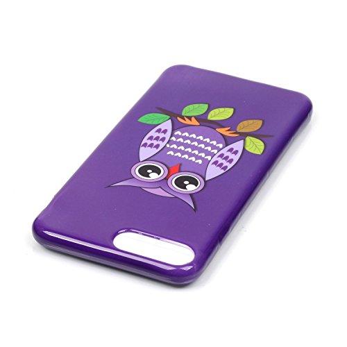 iPhone 7 Plus Hülle,iPhone 7 Plus Silikon Case,iPhone 7 Plus Cover - Felfy Ultra Dünne Weicher Slim Gel Flexible Soft TPU Silikon Hülle Schutzhülle Silikon Hülle Blumen Muster Farbmalerei Beschützer H Lila Eule