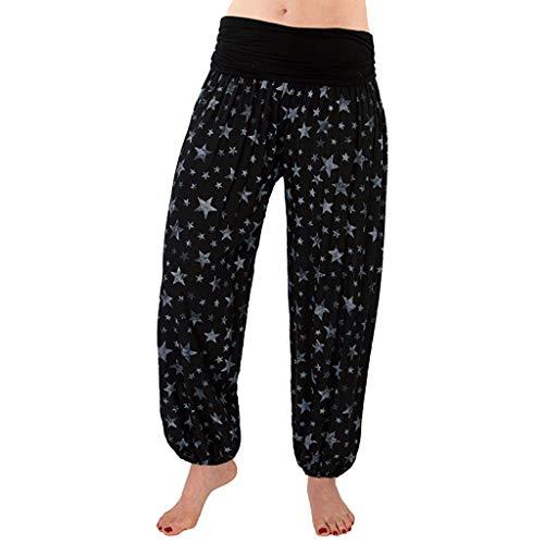 Watopi Damen Yoga Hosen Haremshose Baggy Hippie Boho Hose Hosenrock Aladinhose Leicht Stoffhose Pumphose Pluderhosen
