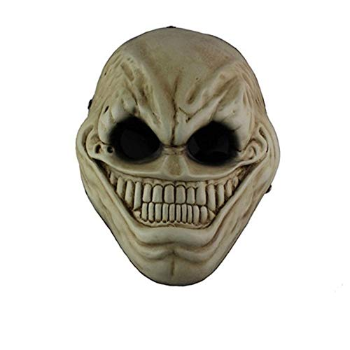 VAWAA Horror Payday 2 Alien Harz Maske Full Face Halloween Cartoon Spiel Beängstigend Lächeln Masken Maskerade Party Kostüm Requisiten Erwachsene (Kinder Beängstigend Alien Kostüm)