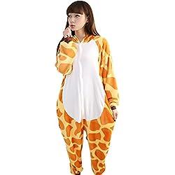 Pijamas Adultos Animales-Disfraz Anime Cosplay Ropa de Dormir Franela Traje Unisex Homewear L Jirafa