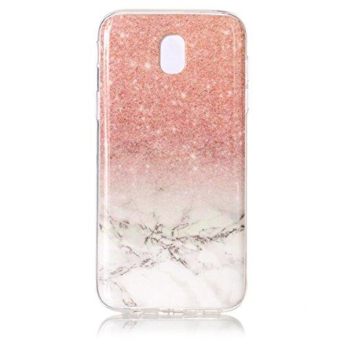 Coffeetreehouse Coque Samsung Galaxy J5 2017 Étui protecteur avec motif de marbre,étui mince, Anti-choc TPU silicone Coque pour Samsung Galaxy J5 2017-Or + blanc