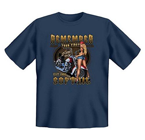 Biker & Motorrad T-Shirt geil bedruckt / Remember your first Softail ! Steelblue