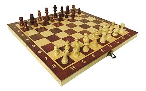 Juego Ajedrez Portatil Profesional Madera Plegable Staunton 3 en 1 Backgammon Juego...