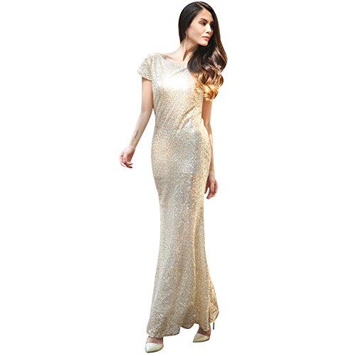 BOMOVO Damen 1920s Schwarz Pailletten Abendkleid Langes Klei Gold