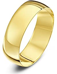 Theia Unisex Heavy D Shape Polished 18 ct Gold Wedding Ring