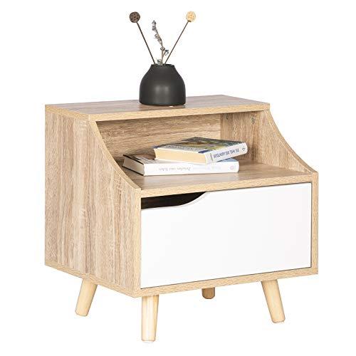 WOLTU TSR56hei Table de Chevet en Bois,Table de Nuit/Table Basse avec tiroir et Compartiment Ouvert,46,5x35x50cm (LxPxH) Chêne Clair