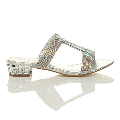 Donna tacco basso sera strass scintillante t-bar sandali pantofole taglia Argento