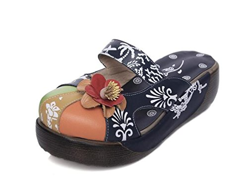 Beauqueen OL Clogs & Maultiere Casual Hollow PU Plattform Runde Toe Blume Dekoration Frauen Komfortable Limited Edition Schuhe EU Größe 34-39 , light green , 34 (Pointed Shoe Court Leder)