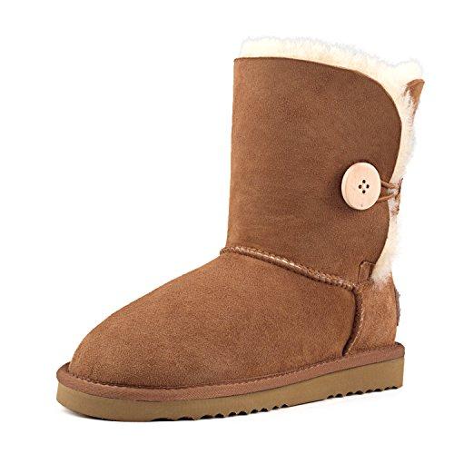 Shenduo - Bottes fourrées de mouton femme, Boots Classiques Mi-mollet doublure chaude en laine DV5803 Marron