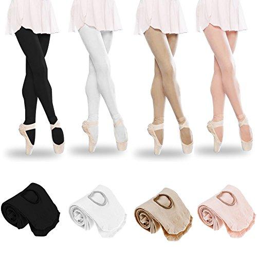 Tubwair Damen Ballett-Strumpfhose, Damen, Mädchen, Basic, Cabriolet, Übergang Ballett-Tanzstrumpfhose, nahtlos, Größe L, Schwarz - 5