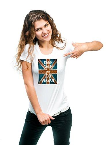 Guarde la calma y vaya la camiseta del vegano Hombre 180g del deporte. Calidad Premium de secado rápido (L)