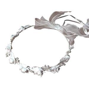 LadyMYP© Haarkranz/Haarschmuck/Kopfschmuck/Haarbänder mit vielen Blüten und Perlen, Hochzeit, Kommunion, Blumenkind