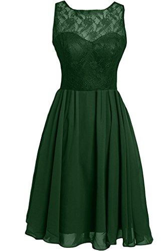 Ivydressing Vestito da sera da donna svasato, senza maniche, in chiffon, scollatura a girocollo, con pizzo Dunkelgruen