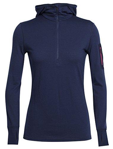 Icebreaker Damen Terra LS Half Zip Hood Pullover, Admiral/Pop Pink, XS