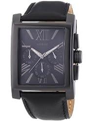 Guess Mainframe W0010G2 - Reloj cronógrafo de cuarzo para hombre, correa de cuero color negro (cronómetro)