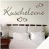 Exklusivpro Wandtattoo Spruch Wand-Worte Kuschelzone mit Herzen inkl. Rakel (wrt04 cremeweiß) 150 x 56 cm mit Farb- u. Größenauswahl