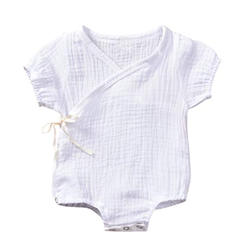 DressLksnf Baby Mädchen Romper Kleinkind Kurzarm Einfarbig Overall Neugeborenes Sommer Jumpsuit