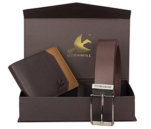 Hornbull Men's Brown Wallet and Belt Combo BW9255