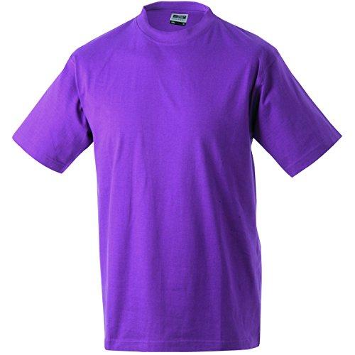 JAMES & NICHOLSON Herren T-Shirt, Einfarbig Violett - Pourpre
