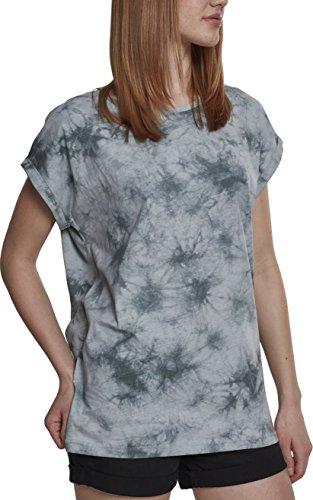 Urban Classics Damen Ladies Batic Extended Shoulder Tee T-Shirt, Mehrfarbig (Grey/Black 01239), X-Large (Herstellergröße: XL)