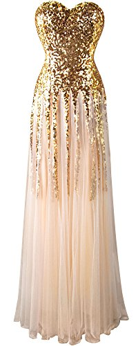 Angel-fashions Femme New Gold Sequin Mesh Cherie Lacent Robe Longueur au Sol Small