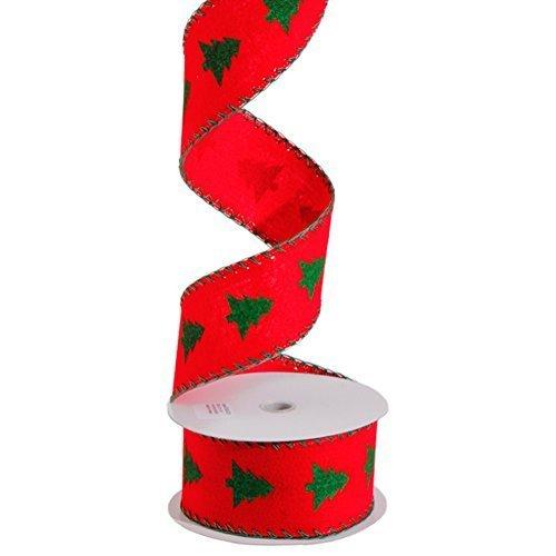 raz Geschenkkorbband, Weihnachtsbaum, mit Borte, 6,3 cm x 3 m, Rot/Grün -