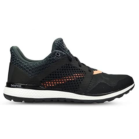 adidas Energy Bounce 2 W, Chaussures de Running Entrainement Femme, Noir / Gris / Rouge (Noir Essentiel / Gris Foncé / Rayon de Soleil), 37 1/3