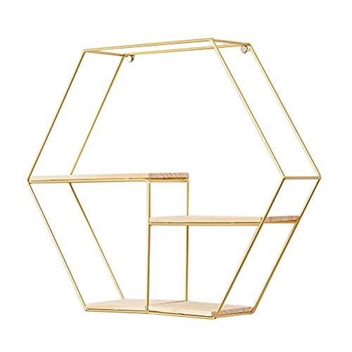 Topbathy scaffali a parete in metallo esagono in metallo con base in legno espositori a parete scaffali per arredamento per casa (oro)
